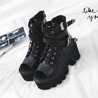 Peep Toe Black Lace up High Heels S..