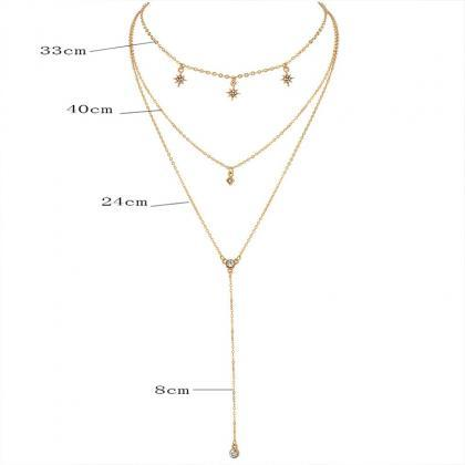 3 Pcs/ Set Crystal Chain Pendant Mu..