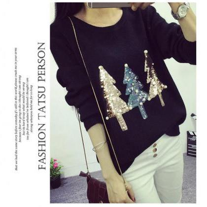 O Neck Sequined Women Pullover Swea..