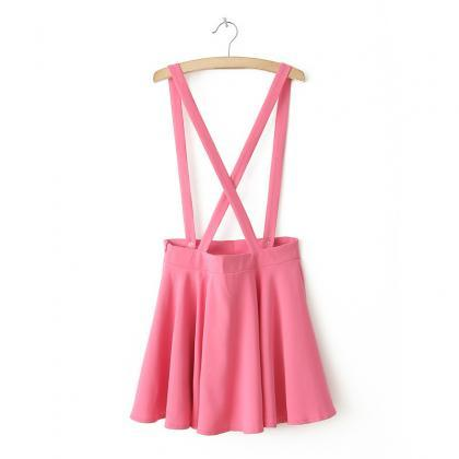 Simple Color Pleat Hem With Straps ..