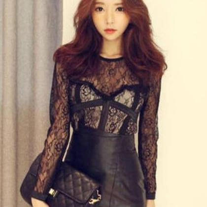 Sexy Black Lace Patchwork Design Lo..