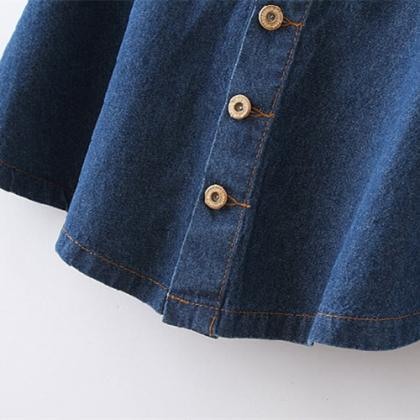 High Waist Denim Skirt With Buttons..