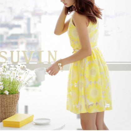 Sleeveless Round Neck Simple Yellow..