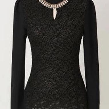 Classy Black Long Sleeve Lace Top