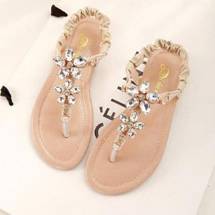 Floral Diamond Design Sandals In Pi..