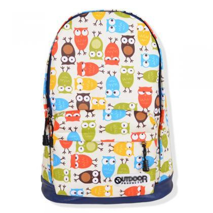 Full Multicolor Owls Printed Backpa..