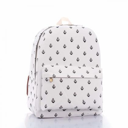 Full Anchor Printed Backpack In Whi..
