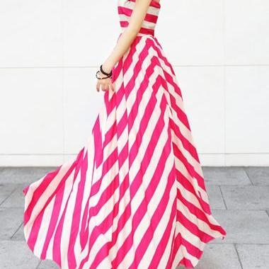 Gorgeous Off Shoulder Striped Long ..