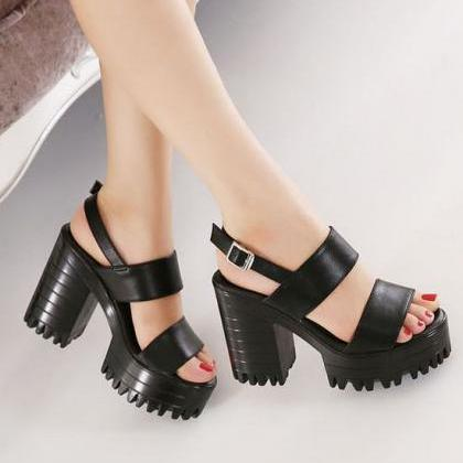 Black Double Strap Chunky Heels San..