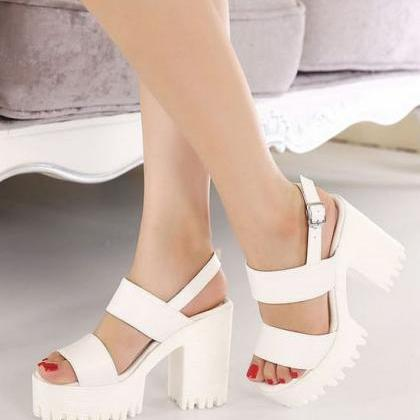 White Double Strap Chunky Heel Sand..