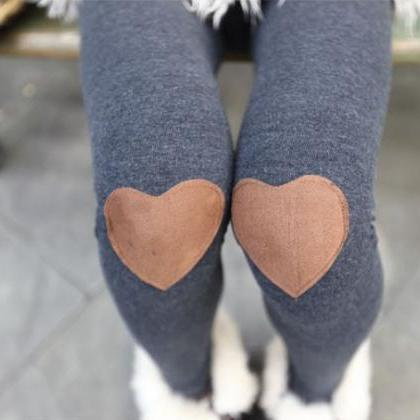 Red Heart Patched Leggings Tights I..