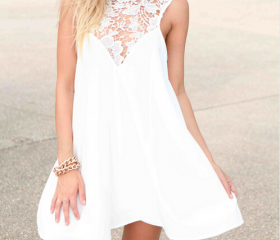Chiffon Stitching Lace Dress