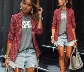 Red Plaid Long-Sleeved Lapel Jacket