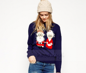 Santa Claus embroidery knitwear loose sweaters