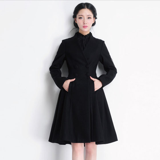 Double Breasted Long Swing Black Coat Dress Wool Coat Jacket