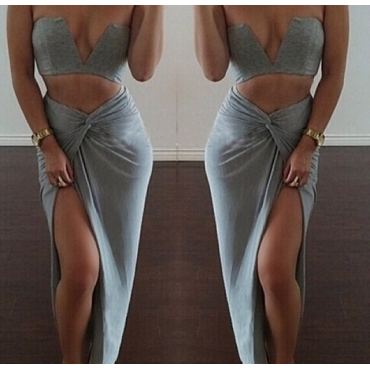 Sexy Off Shoulder Side Slit Two Piece Ankle Length Dress