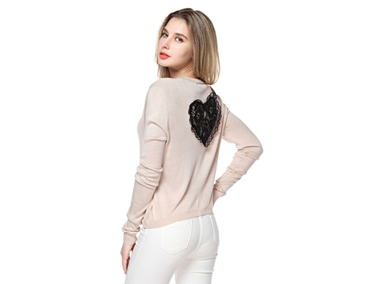 Women's Round Neck Beige Sweater With Heart Pattern Back