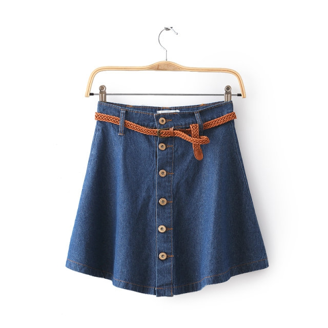 High Waist Denim Skirt With Buttons Detail
