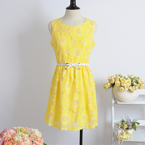 Sleeveless Round Neck Simple Yellow Dress