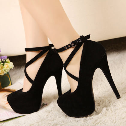 Black High Heels With Ankle Strap