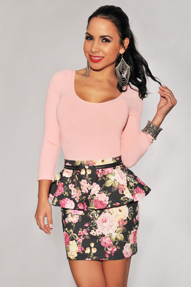 Black Floral Printed Peplum Mini Skirt on Luulla