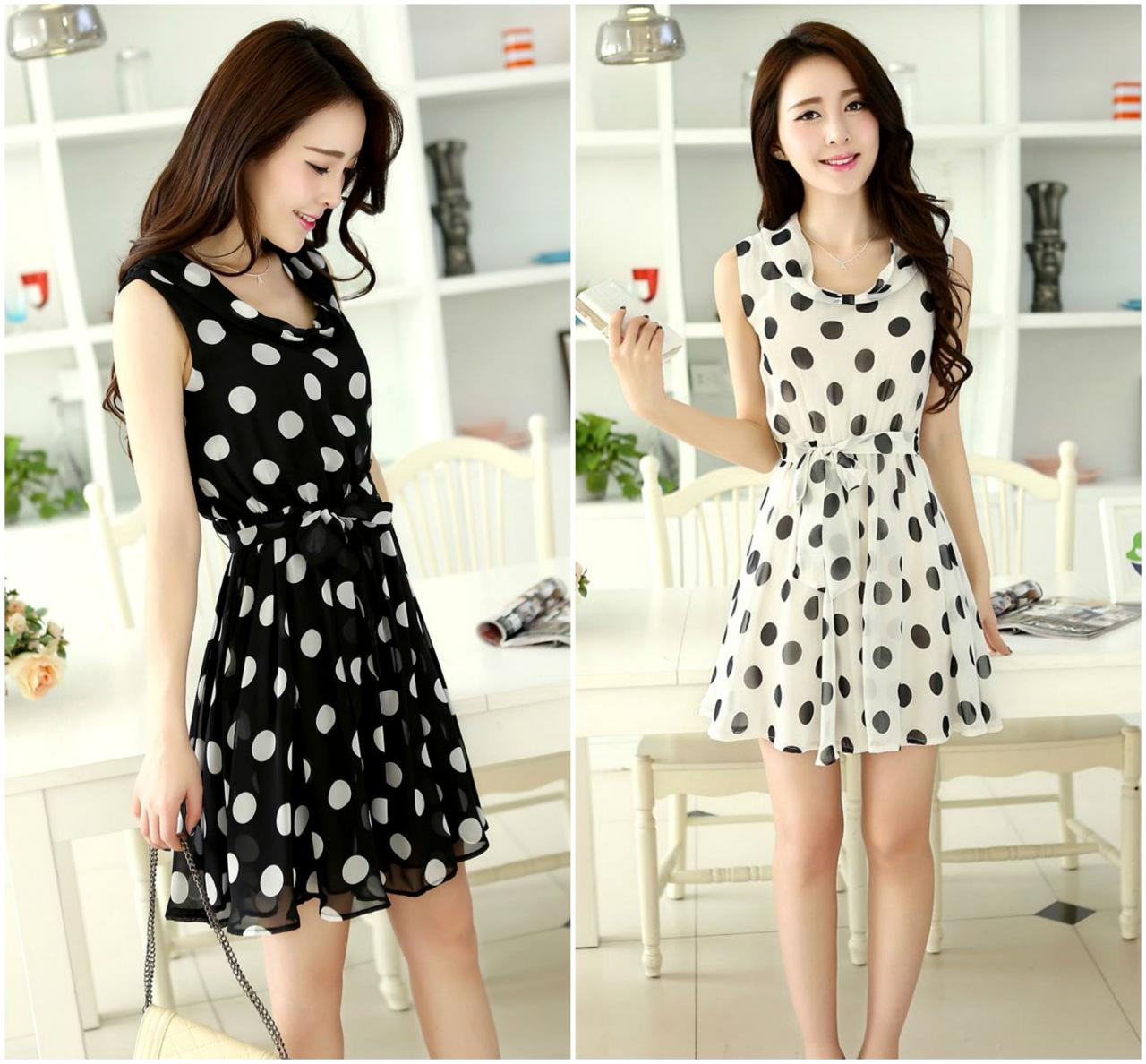 Chic Polka Dots Dress With Bow Belt In 2 Colors