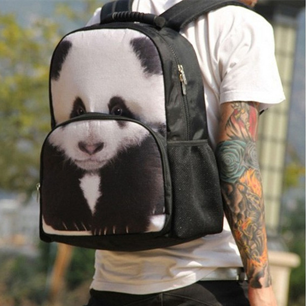 Panda Printed Backpack In Black