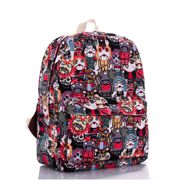 Cartoon Zombie Printed Backpack In Red