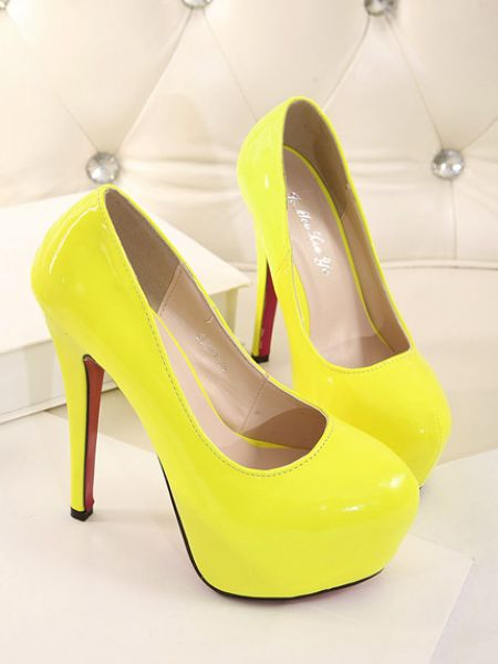 Sexy Neon Yellow High Heels Shoes