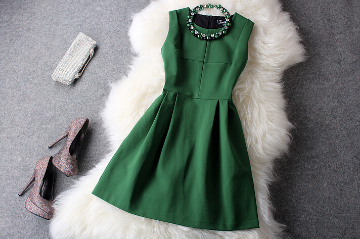 Fashion And Elegant Cultivate One's Morality Show Thin Sleeveless Green Dress