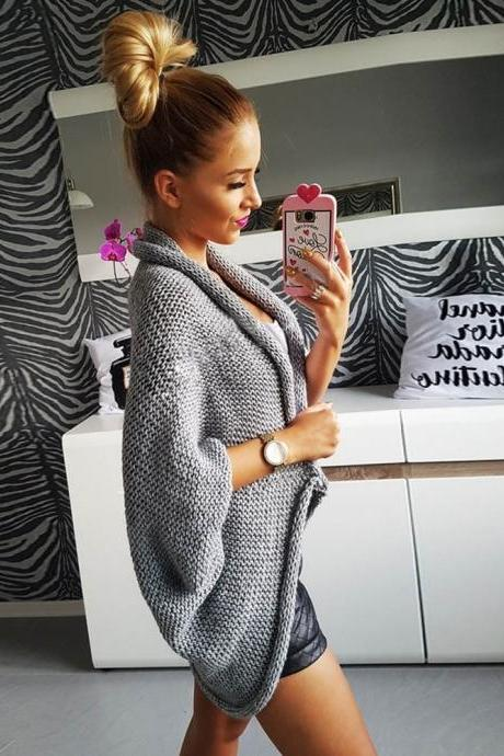 Autumn Winter Women Loose Knitted Cardigan Jacket