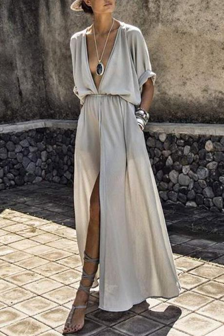 Sexy Deep V-Neck Batwing Short Sleeve Casual Loose Maxi Dress with Slit