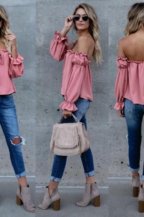 Off Shoulder Casual Ruffled Sleeves Summer