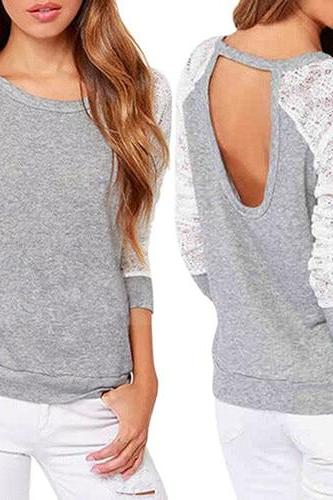 Grey Long Sleeve Sexy Lace Back Top