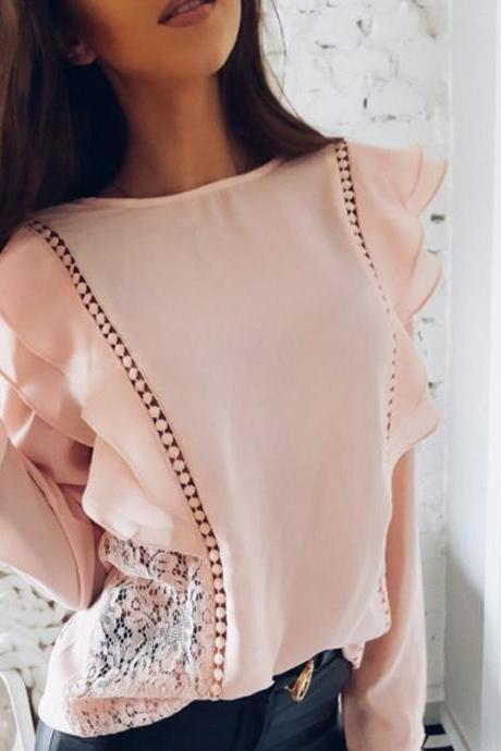 Chic Sexy Ruffled Long Sleeve Chiffon Blouse