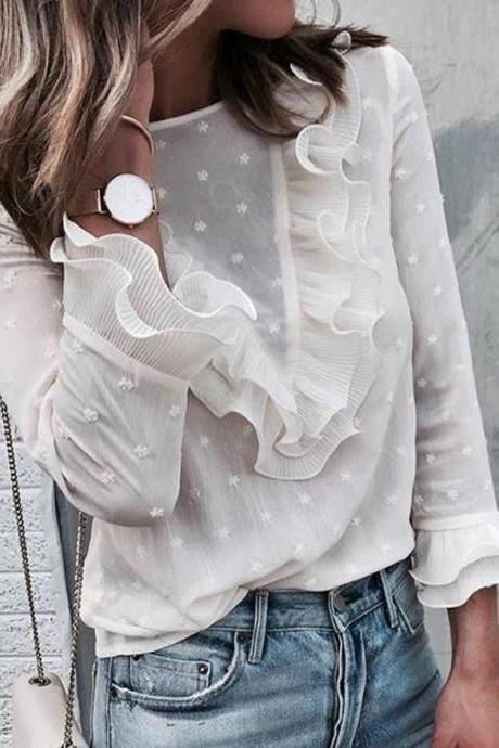 Elegant Casual Ruffles Lace LOng Sleeve Blouse Top