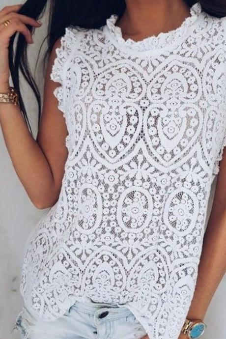 Beautiful White Lace Sleeveless Top