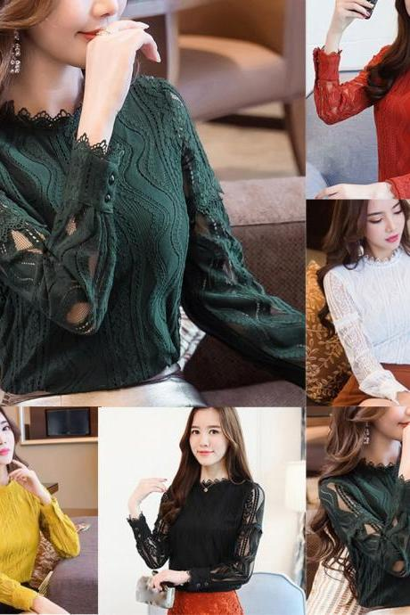 Chic Long Sleeve Lace Blouse