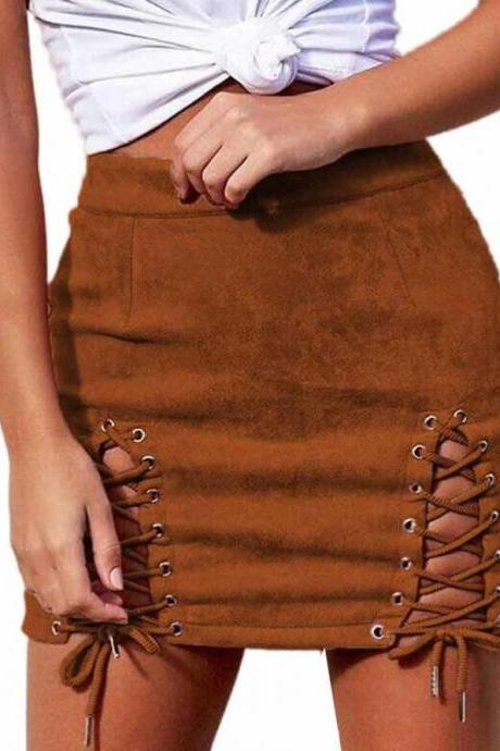 Sexy Suede Casual Lace up Skirts