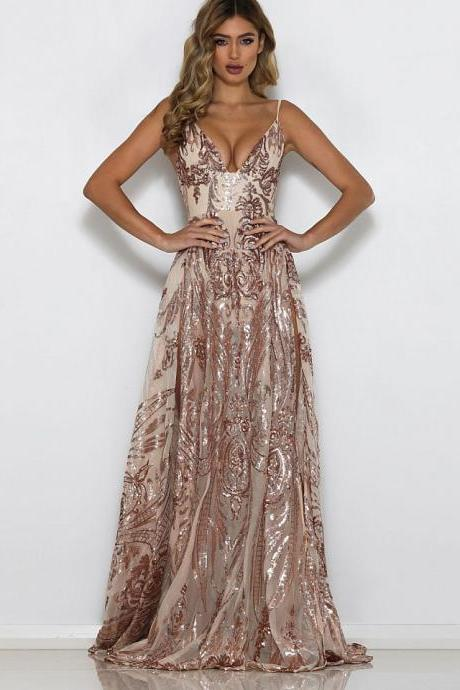 Sequin V Neck Floor Length Evening Dress