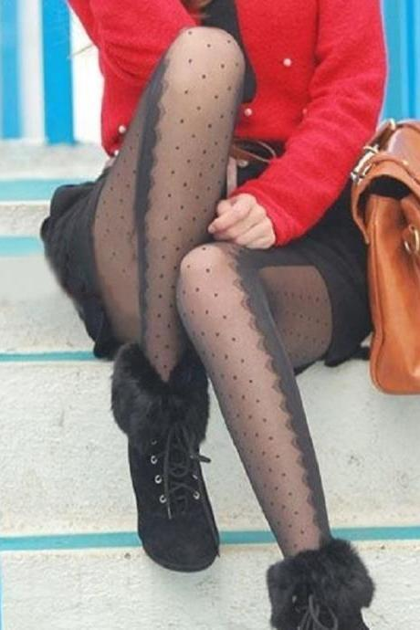Sexy Black Polka dots Sheer Stockings