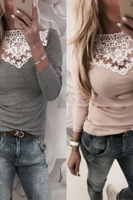 Long Sleeve Stylish Top with Beautiful lace Detail