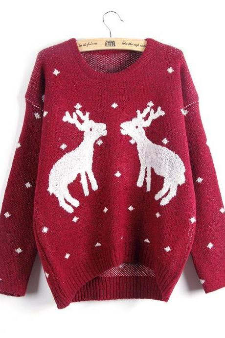 Autumn and Winter Women's Reindeer Christmas Sweater