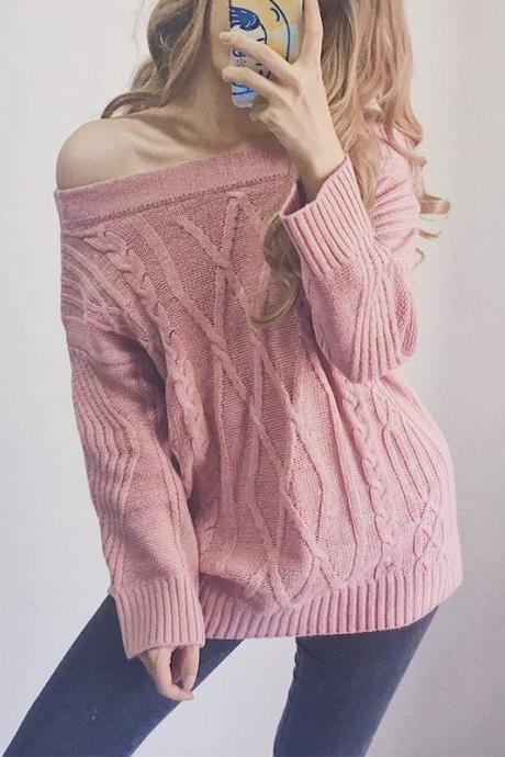 Off Shoulder Knitted Long Sleeve Pullover Top