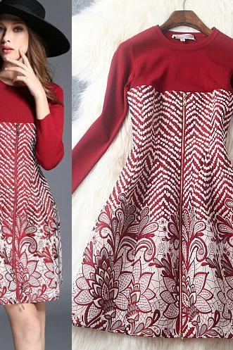 Fashion Knitting Splicing Dress