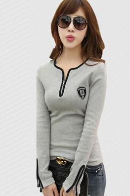 Fashion Long-Sleeved V-Neck Cotton T-Shirt