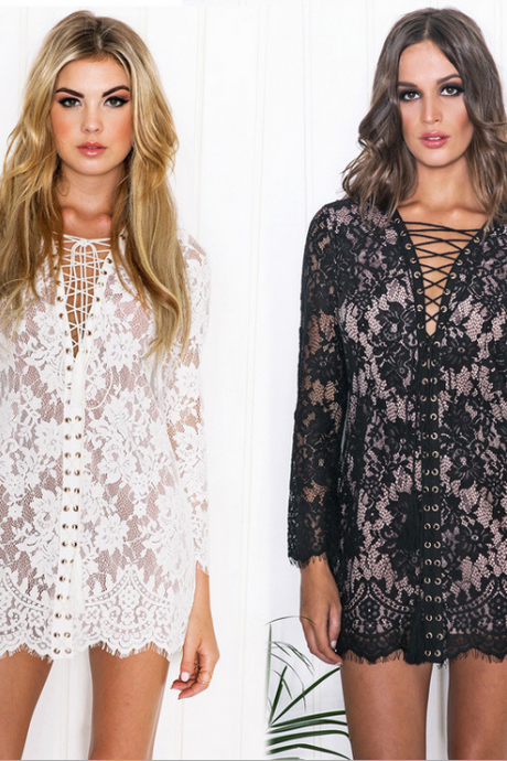 Retro Hollow Out Lace Dress