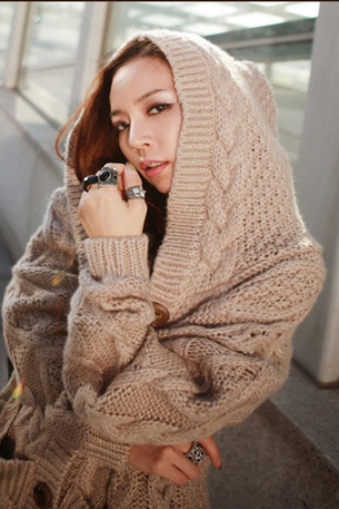 Fashion Loose Hooded Sweater Coat
