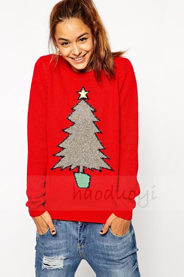 The Christmas tree knitting loose sweaters
