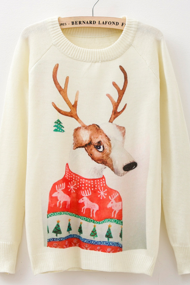Cartoon Christmas reindeer sweater